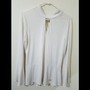 Elle Tracy White Blouse with trumpet sleeves